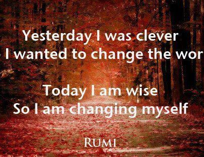 Yesterday I was clever  Today I am wise