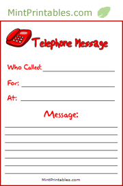 printable phone message