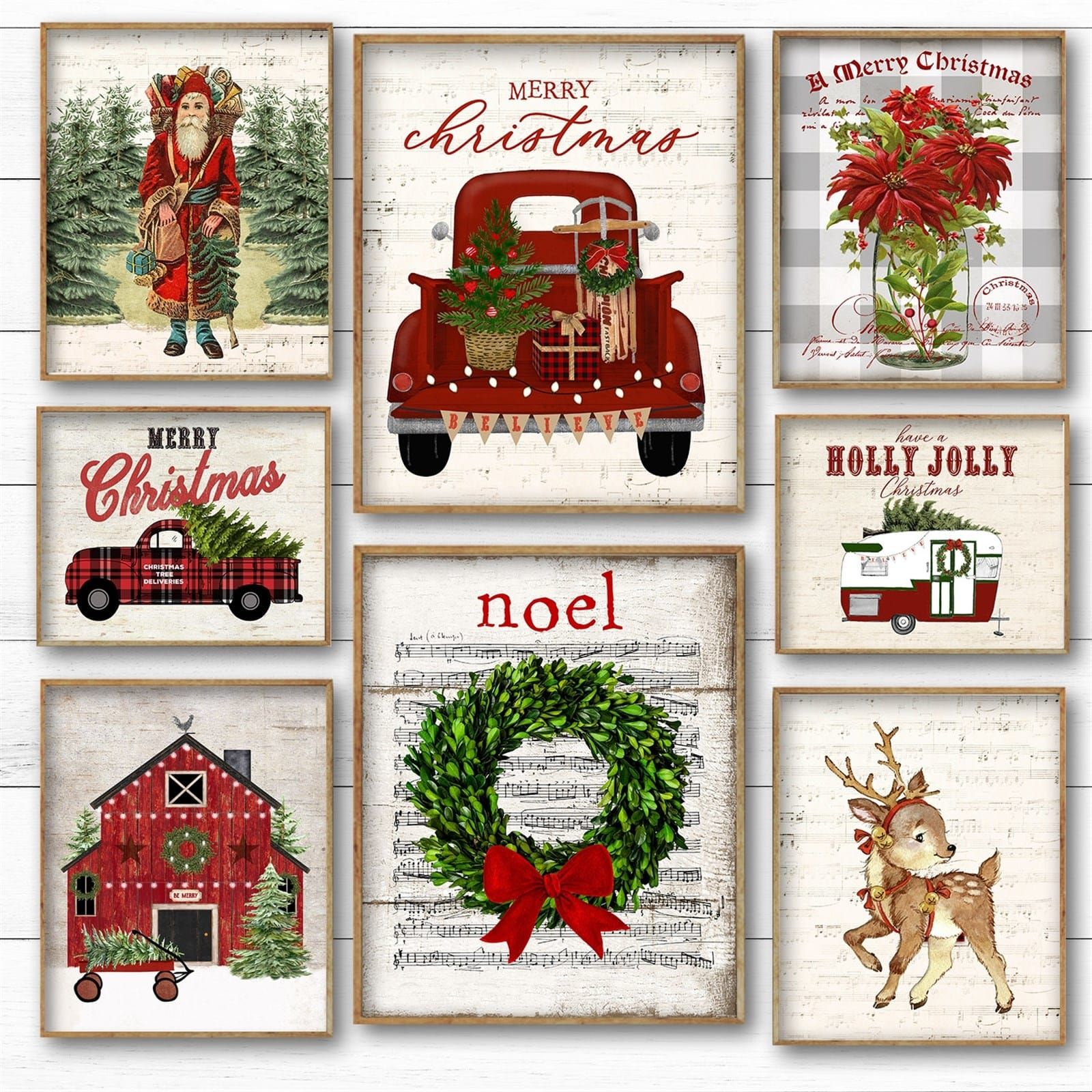 Rustic Retro Christmas Prints 2 Sizes Retro christmas