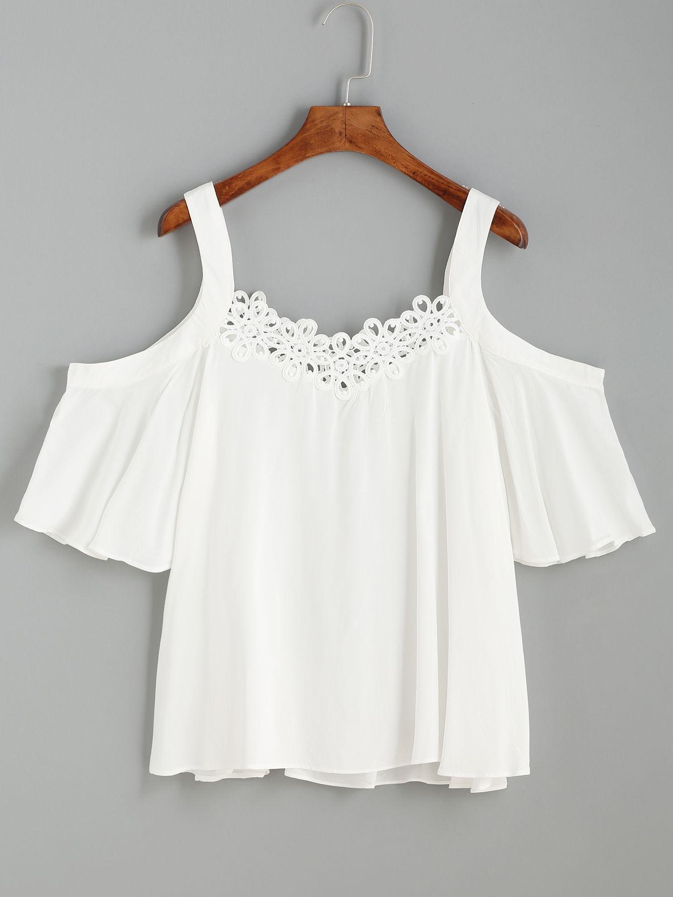 White Cold Shoulder Crochet Trim Top | Women\'s Basic | Pinterest ...