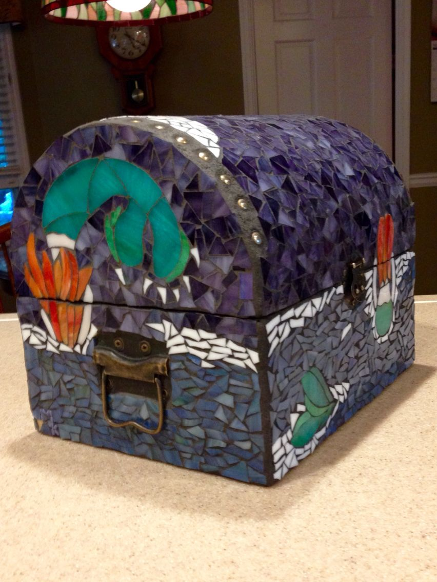 Mermaid at midnight treasure chest side view
