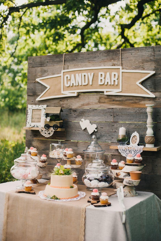 Hochzeit, Candy Bar, Süßigkeiten Bar, rustikal | Hochzeit | Candy ...