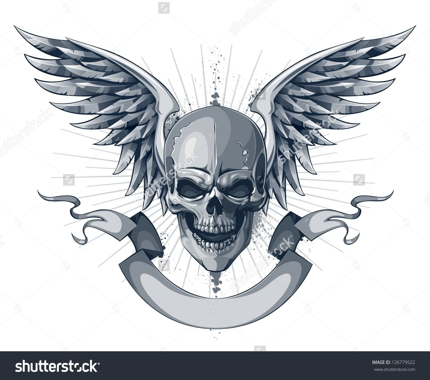 Skull With Wings And Scroll Ribbon Tattoo Design Tats Pinterest