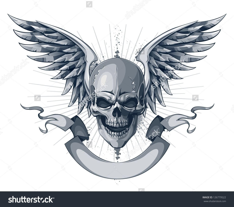 Skull With Wings And Scroll Ribbon Tattoo Design | tats | Skull ...