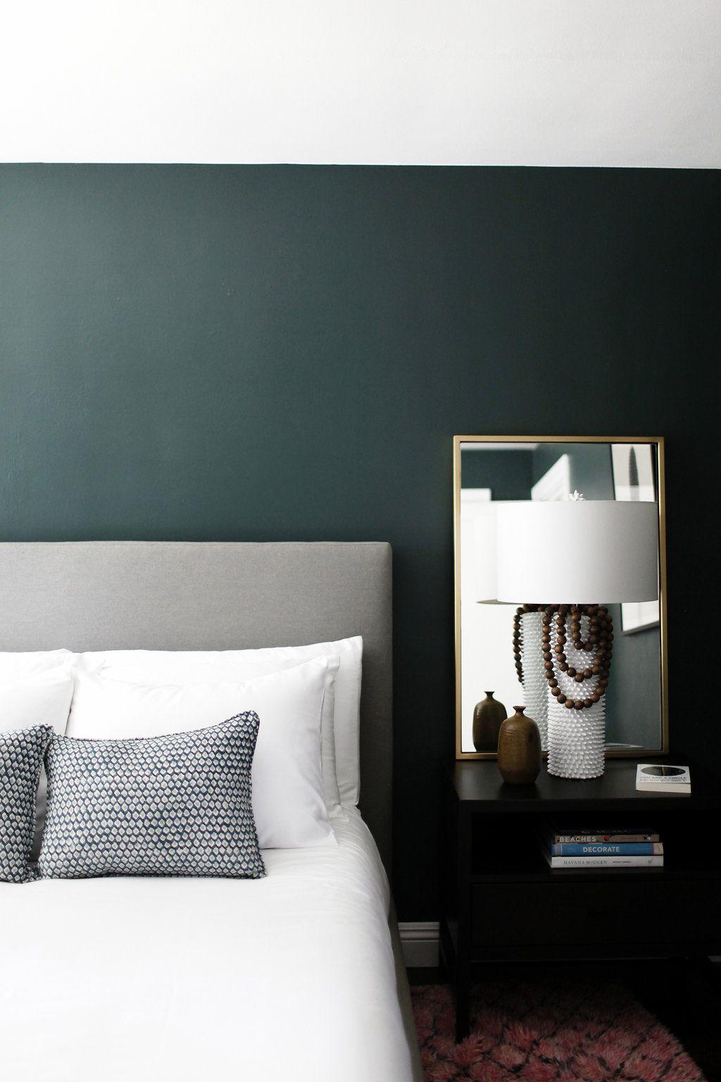 Minimalist Bedroom With Dark Green Walls