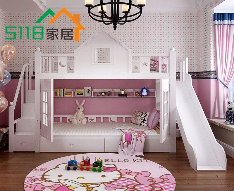 Двухъярусная детская кровать с лестницей комодом и игровым ...