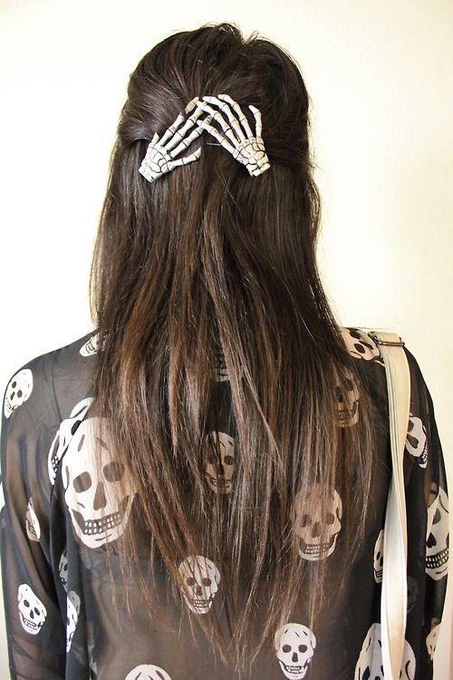 Punk Hair Clips Skeleton Hand Hair Hair Halloween Hair Hair Und Fashion