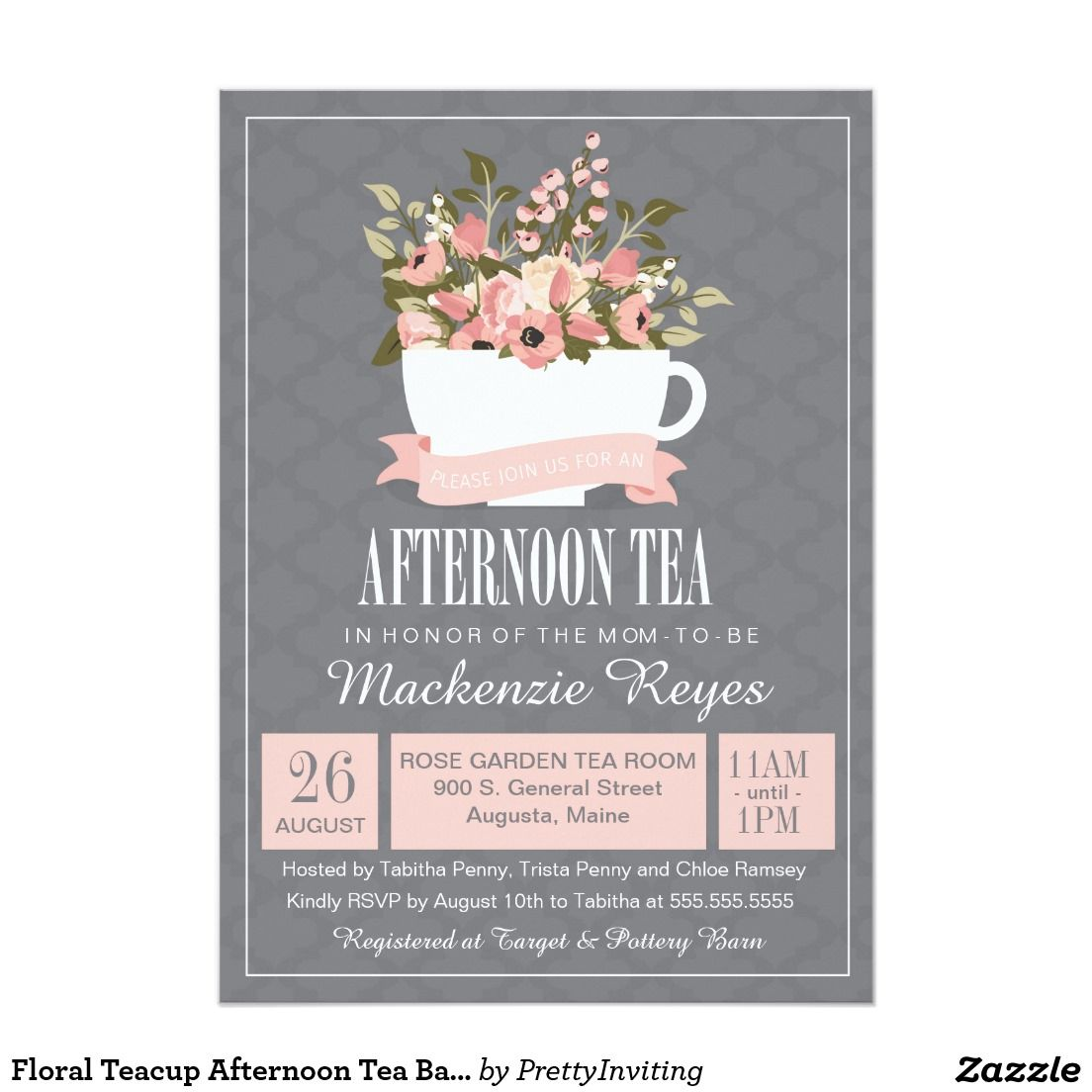 Floral Teacup Afternoon Tea Baby or Bridal Shower Card | Baby Shower ...