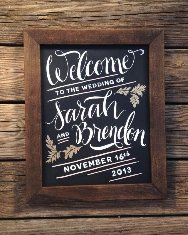 Wedding Chalkboard Ideas: Welcome Sign For Wedding Hand Painted Chalkboard By