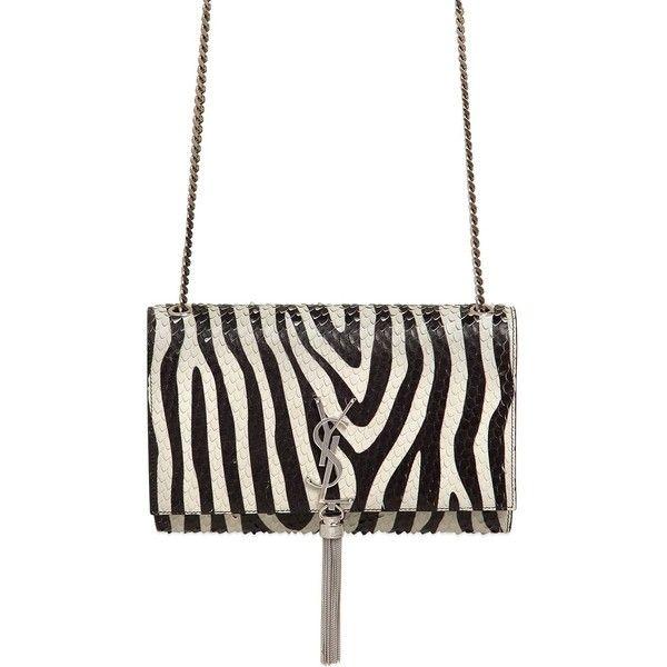 Saint Laurent Women Monogram Zebra Printed Bag ($2,200) ❤ liked on Polyvore featuring bags, handbags, shoulder bags, leather shoulder bag, monogrammed purses, chain strap shoulder bag, white handbags and leather purse
