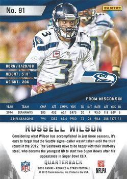 Russell Wilson 2015 Panini Score Football Card