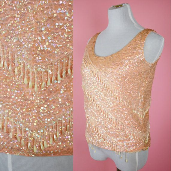 Vintage 60/'s Pink Sequin Beaded Blouse Large