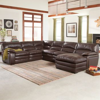Laughlin Top Grain Leather Chaise Sectional