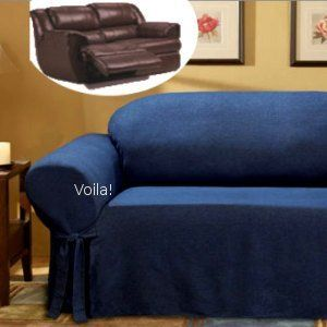 Reclining Sofa Slipcover Adapted For Dual Recliner Couch Navy Blue Cotton