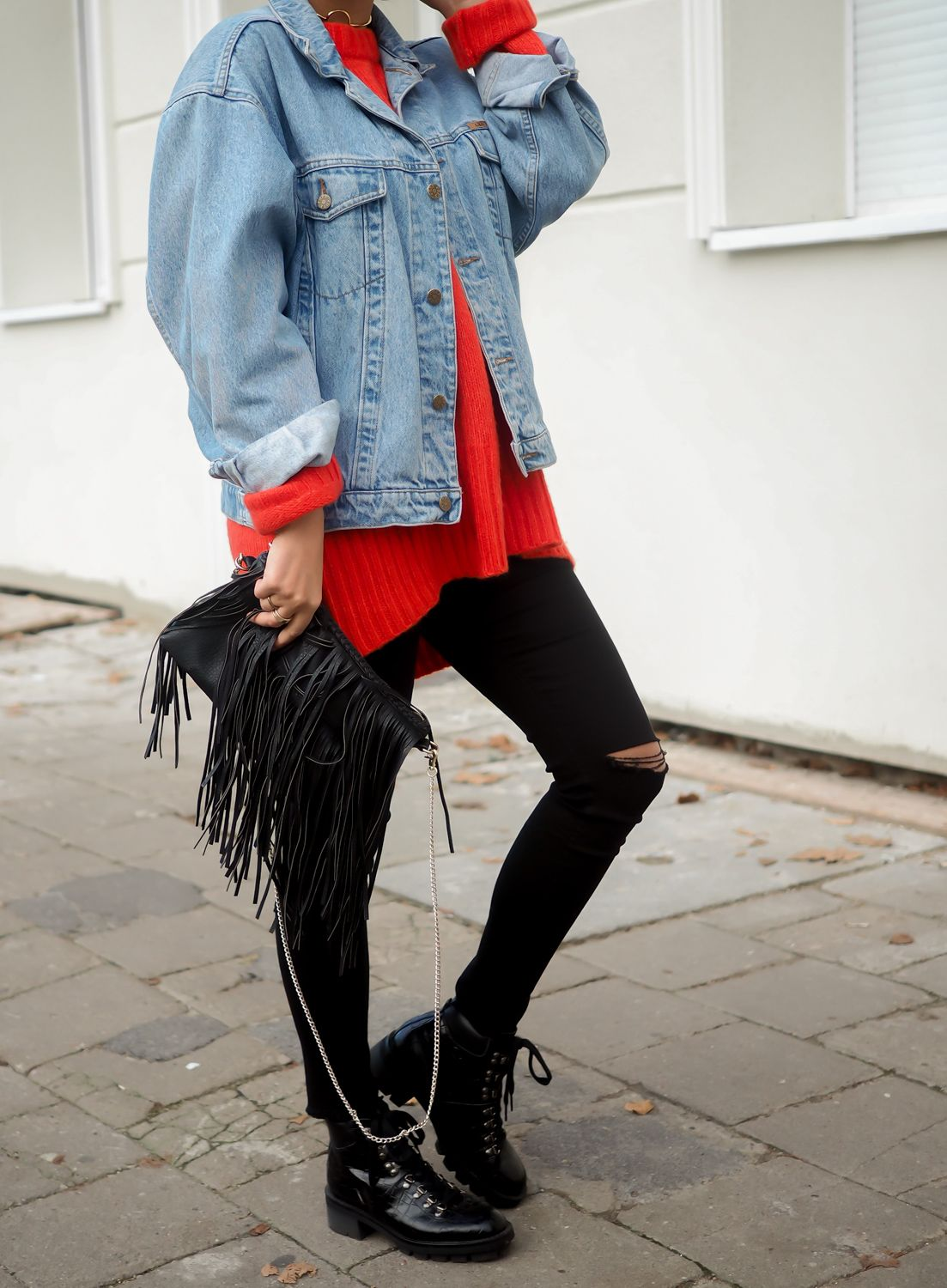 Monse Oversized Pullover mit Cut out Rote Wolle 1101510