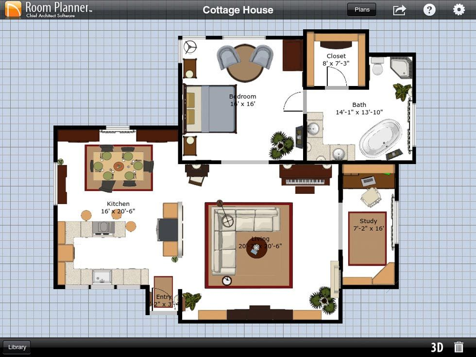 Fascinating Cottage House Plans Using Room Planner App Displaying Master Bedroom With Bathroom Involved Living And Dining Room