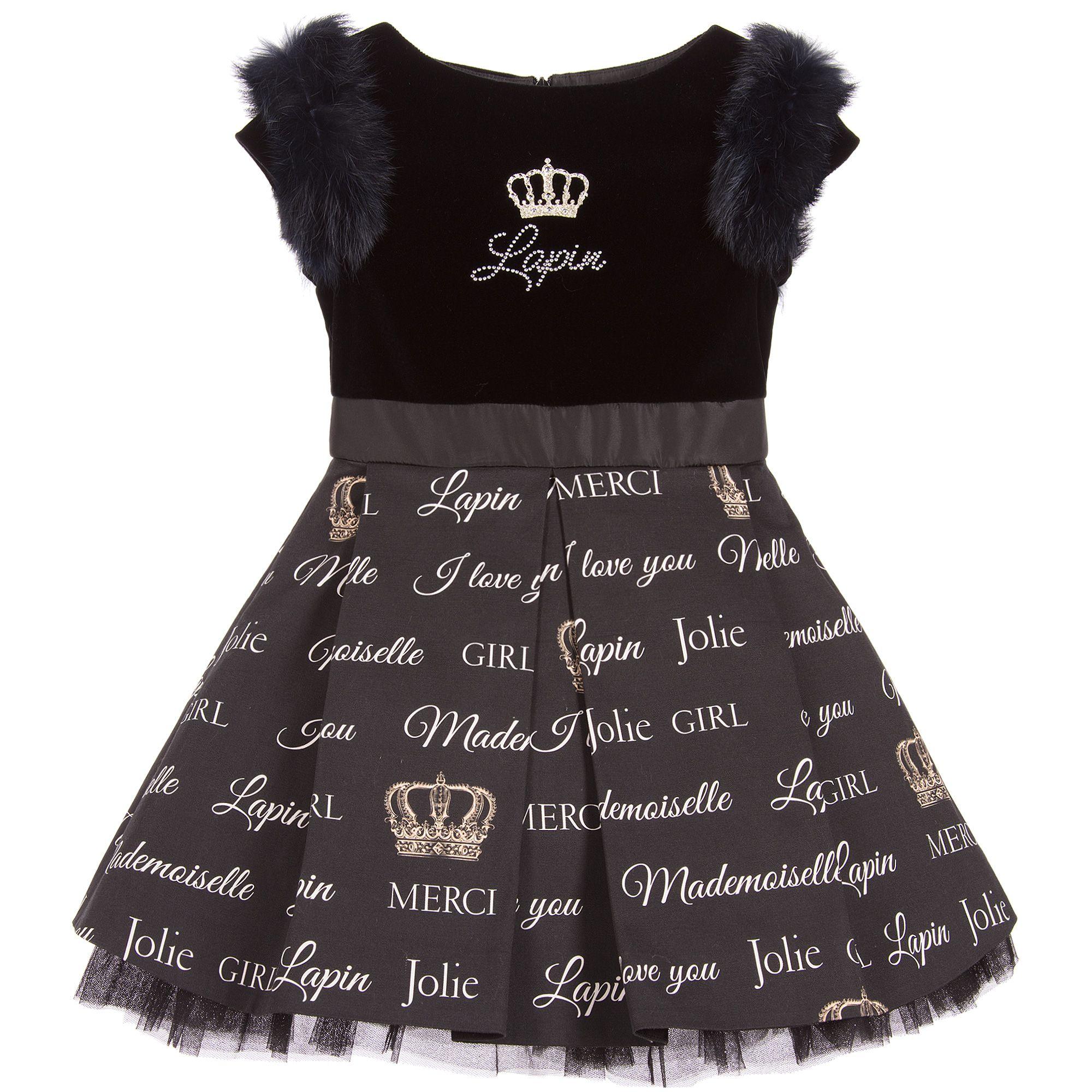 Girls black velvet dress