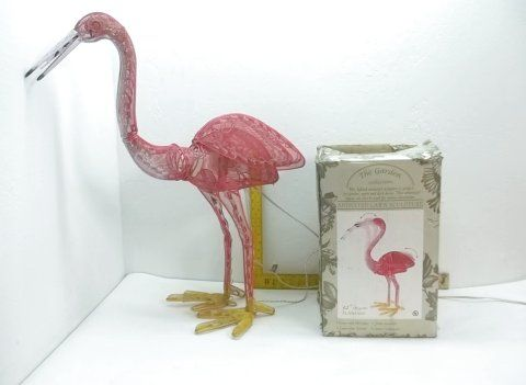 Lot 148 Lighted Animated Flamingo Lawn Sculpture In Box