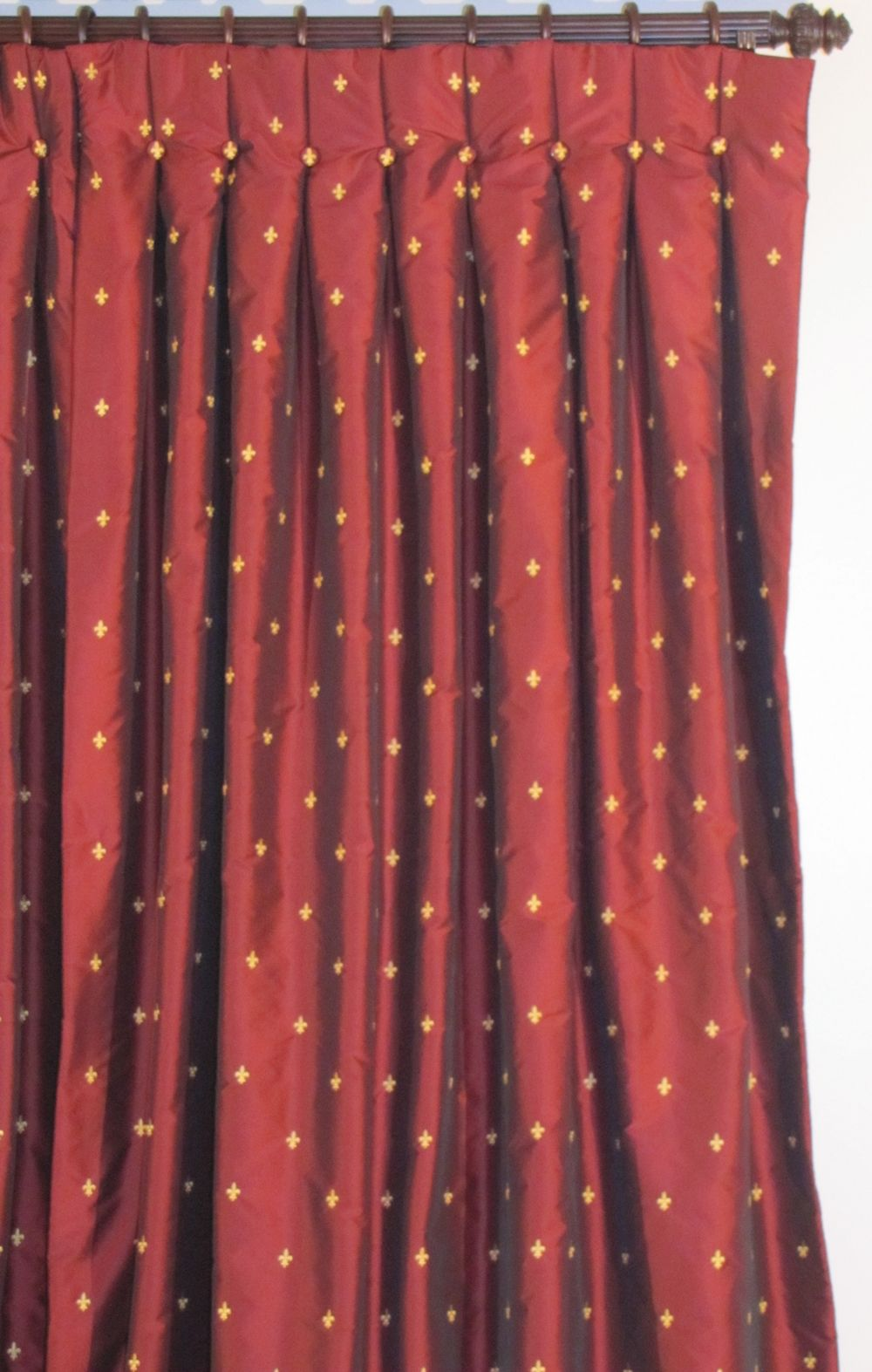 Fleur De Lis Curtains Shown In Wine. Lined With Thick Flannel Interlining  And Sateen Lining