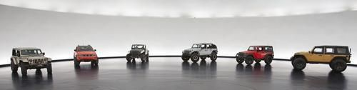 All six of the Jeep Easter Safari concept vehicle built to navigate the trails of Moab, UT. Jeep Grand Cherokee Trailhawk, Jeep Wrangler Stitch, Jeep Wrangler Slim, Jeep Wrangler Sandtrooper II, Jeep Wrangler Mopar Recon, Jeep Wrangler Flattop.