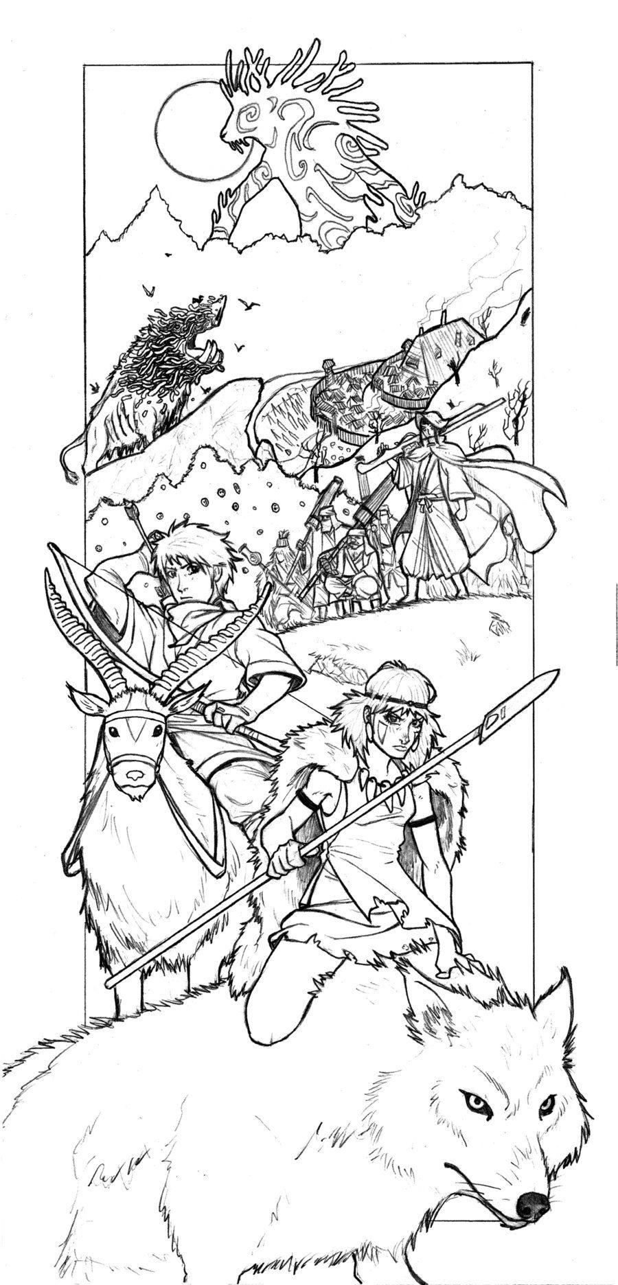 Princess Mononoke Coloring Books Studio Ghibli Ghibli Tattoo [ 1872 x 900 Pixel ]