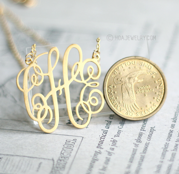 1.5″ initial monogram 18K Gold plated Sterling silver from namesring.com