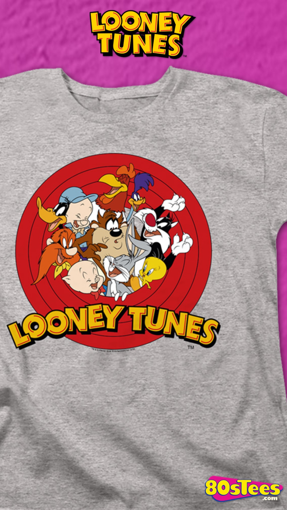 This Womens Looney Tunes Shirt Features The Iconic Characters Bugs Bunny Porky Pig Yosemite Sam Daffy Duck Elmer Fu Looney Tunes It Cast Comedy Short Films