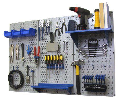4ft Metal Pegboard Standard Tool Storage Kit Gray Toolboard With Hooks Metal Pegboard Storage Kits Tool Storage