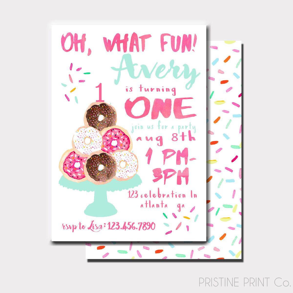Donut Birthday Invitation Donut Invitation Donuts And Etsy First Birthday Brunch 1st Birthday Parties First Birthday Invitations