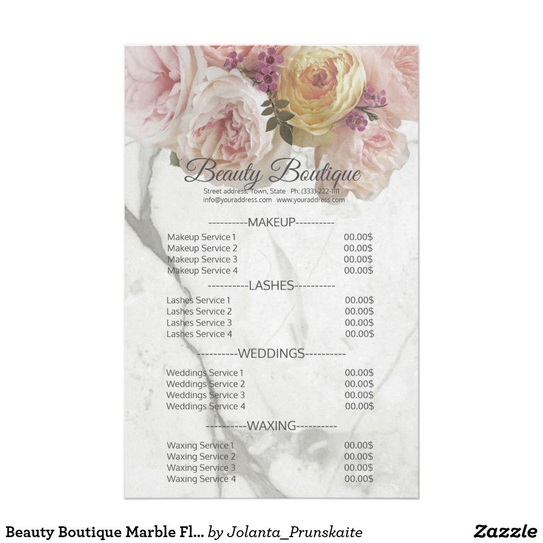 Beauty Boutique Marble Flower Price List Flyer Zazzle Com Beauty Boutique Flyer Waxing Services