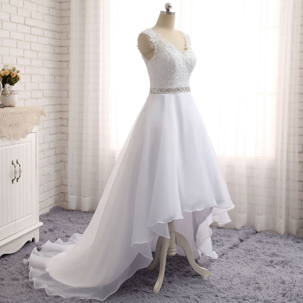 Fashion new high low wedding dresses sexy v neck organza bridal