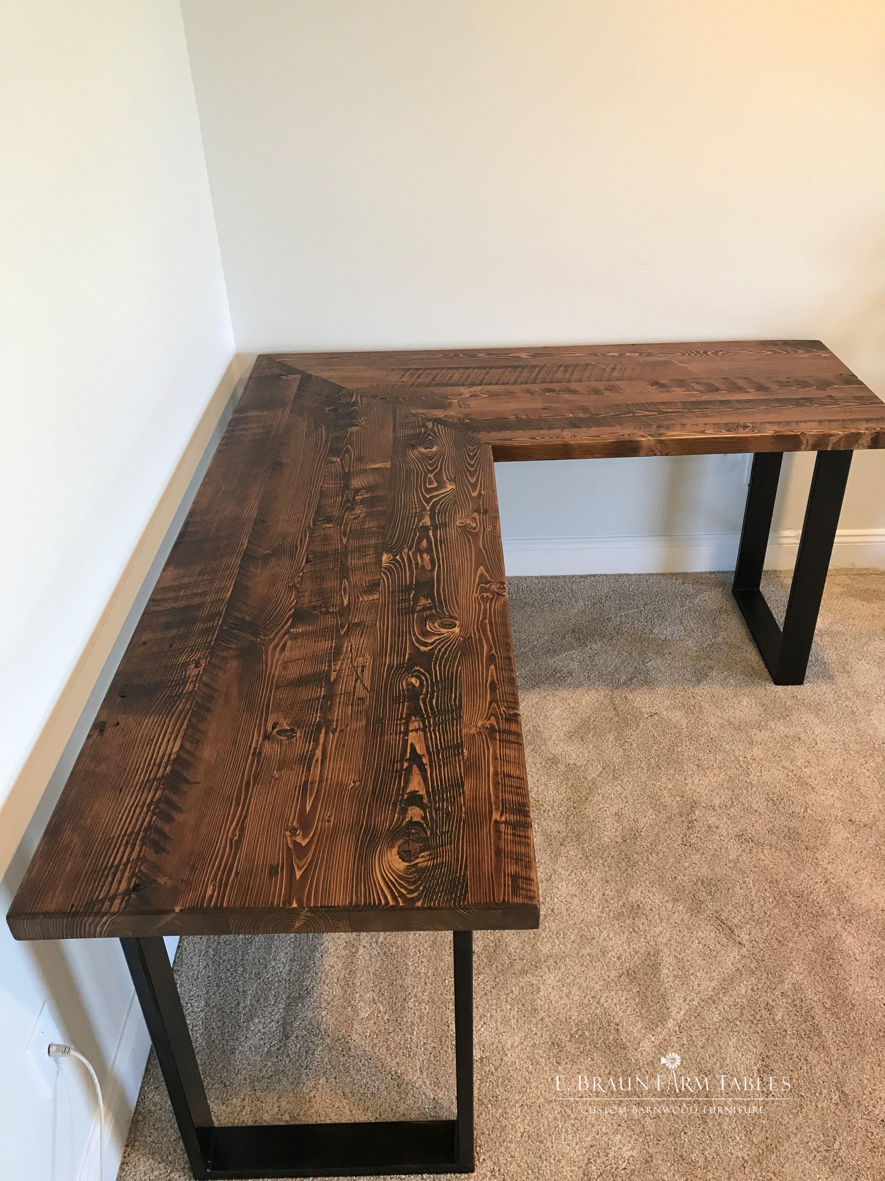 Custom Handcrafted Desk Of Reclaimed Yellow Pine Barn Wood Boards
