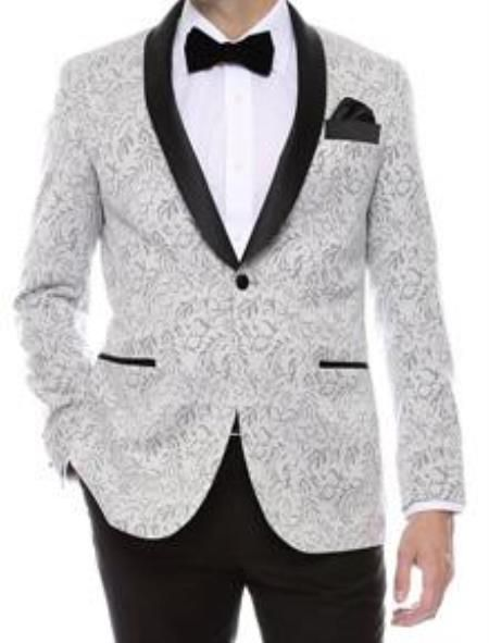 SKU#QY58L Floral Mens Satin Shiny tuxedo suits Dinner Jacket ...