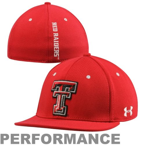 ada737378a9 Under Armour Texas Tech Red Raiders Stretch Fit Flat Bill Performance Hat -  Scarlet