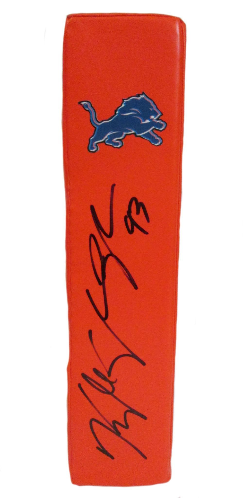 Kyle Vanden Bosch signed Detroit Lions Rawlings football touchdown end zone pylon w/ proof photo.  Proof photo of Kyle signing will be included with your purchase along with a COA issued from Southwestconnection-Memorabilia, guaranteeing the item to pass authentication services from PSA/DNA or JSA. Free USPS shipping. www.AutographedwithProof.com is your one stop for autographed collectibles from Detroit sports teams. Check back with us often, as we are always obtaining new items.
