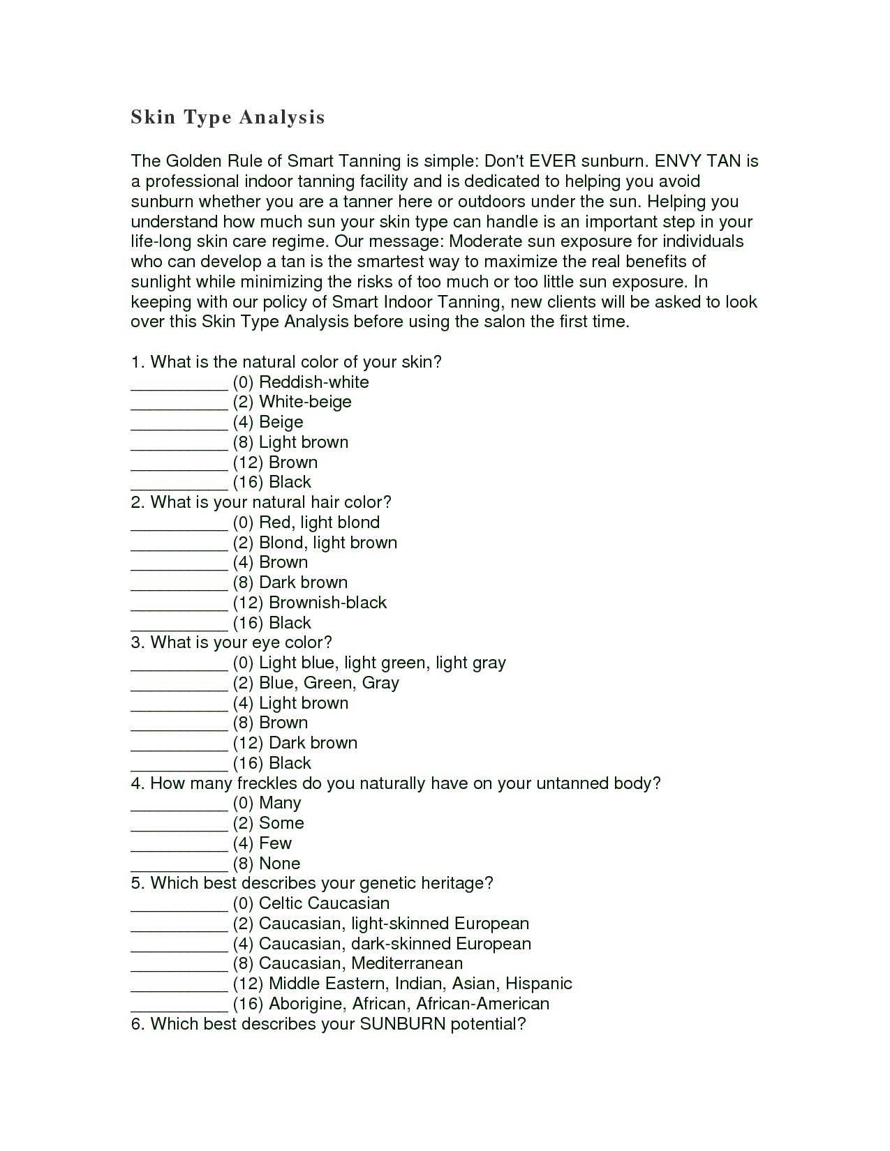 Fitzpatrick Skin Type Worksheet Skin Type Analysis