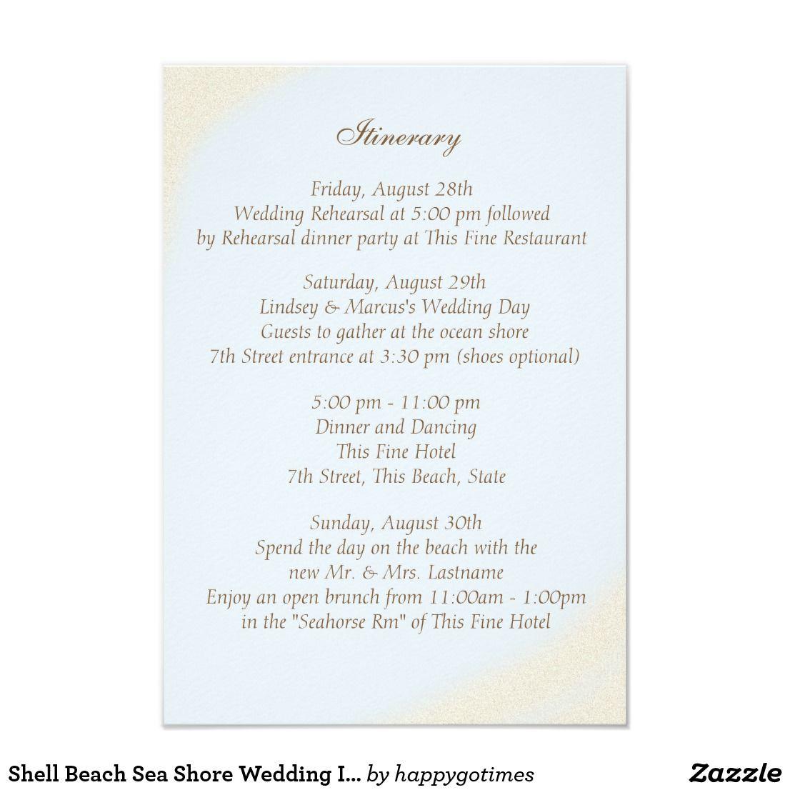 Starfish poem card - Shell Beach Sea Shore Wedding Intinerary Card