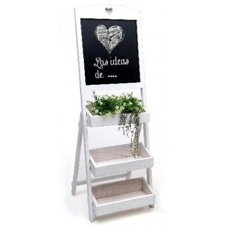 estantera escalera con pizarra de madera blanca estantera de escalera con tres baldas de cajn