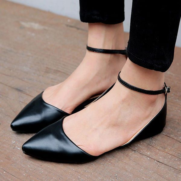 Strappy Pointed Black Shoes Flat