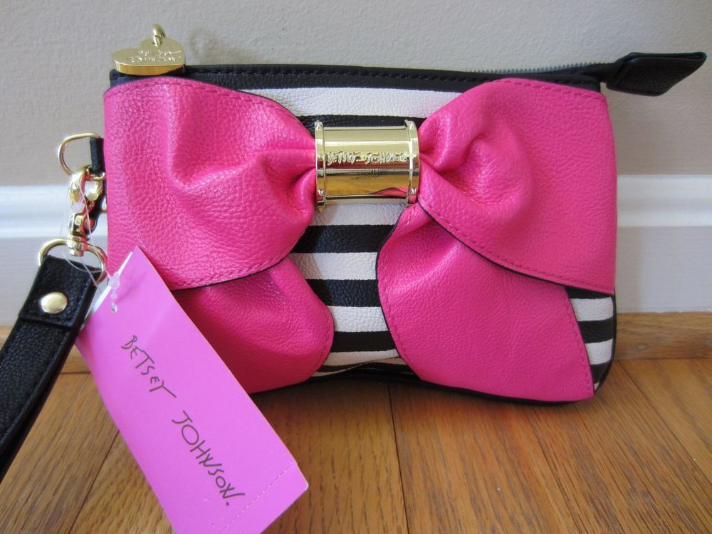 c5bce8c0c90b BETSY JOHNSON Bow Nanze Black White Pink Stripe Wristlet Bag Clutch Purse