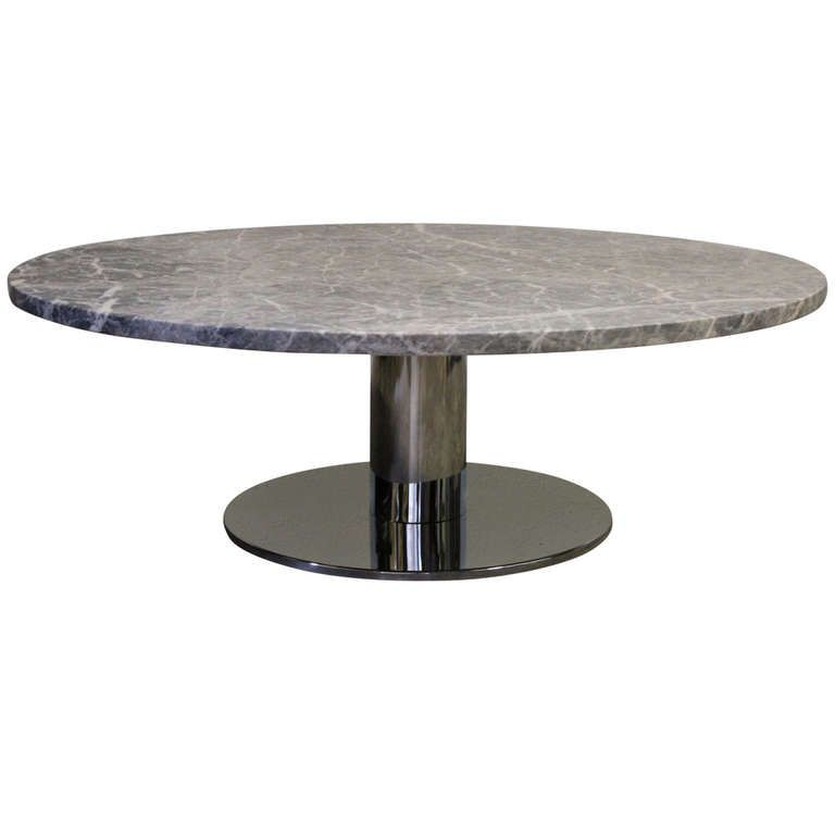 Chrome based coffee table with large honed marble top