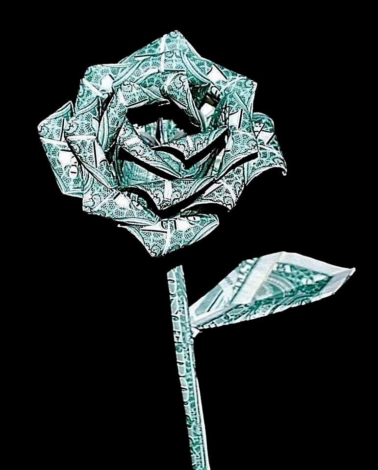 Money Rose Origami flower 10 real $1 bills Graduation holiday unique Gift Decor