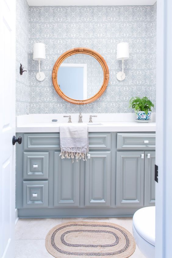 Pretty Powder Room Designed By Ausland Interiors Go Lightly Sconce Barbara Barry In China White Circa Lighting
