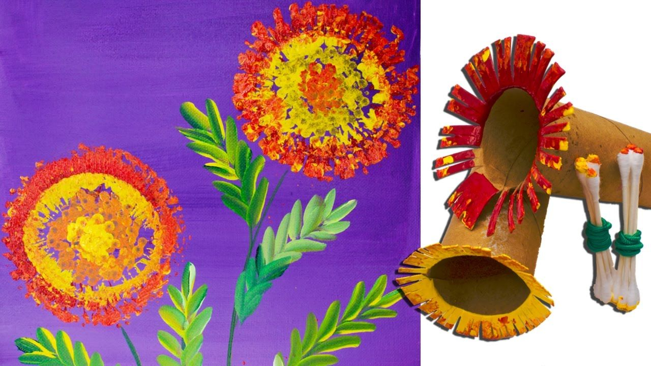 Easy marigold flower art toilet paper rolls painting and for Canvas roll for painting