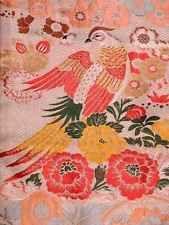 Gorgeous!! Japanese Vintage OBI, SILK, White, Bird, RARE!! Y011408