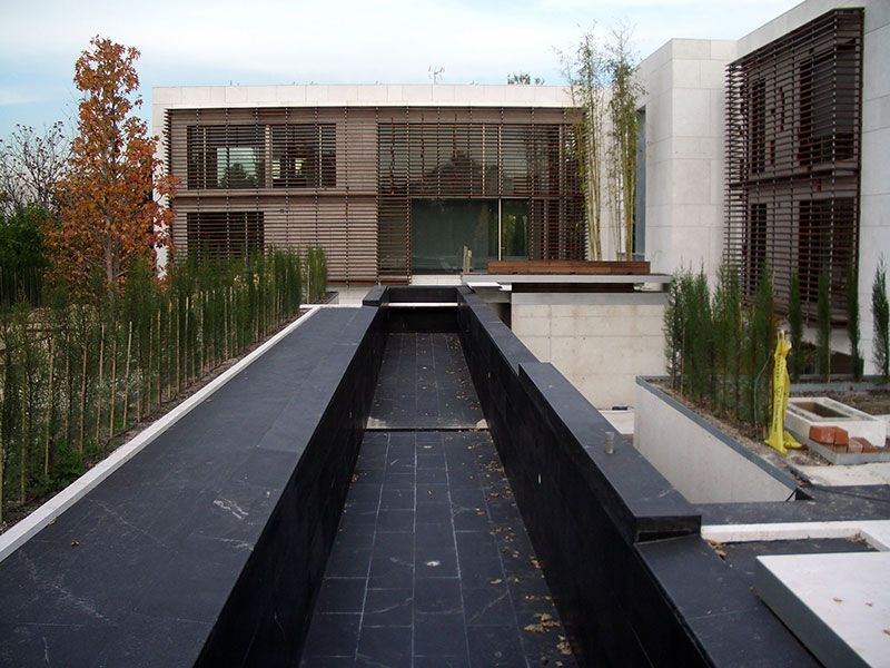 Dhe House Outside View And Black Swimming Pool Made Of Alcantara Black Material Dhe House