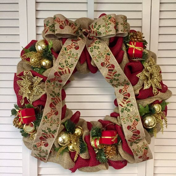 Sale 20 off Large Red and Gold Christmas Wreath Burlap