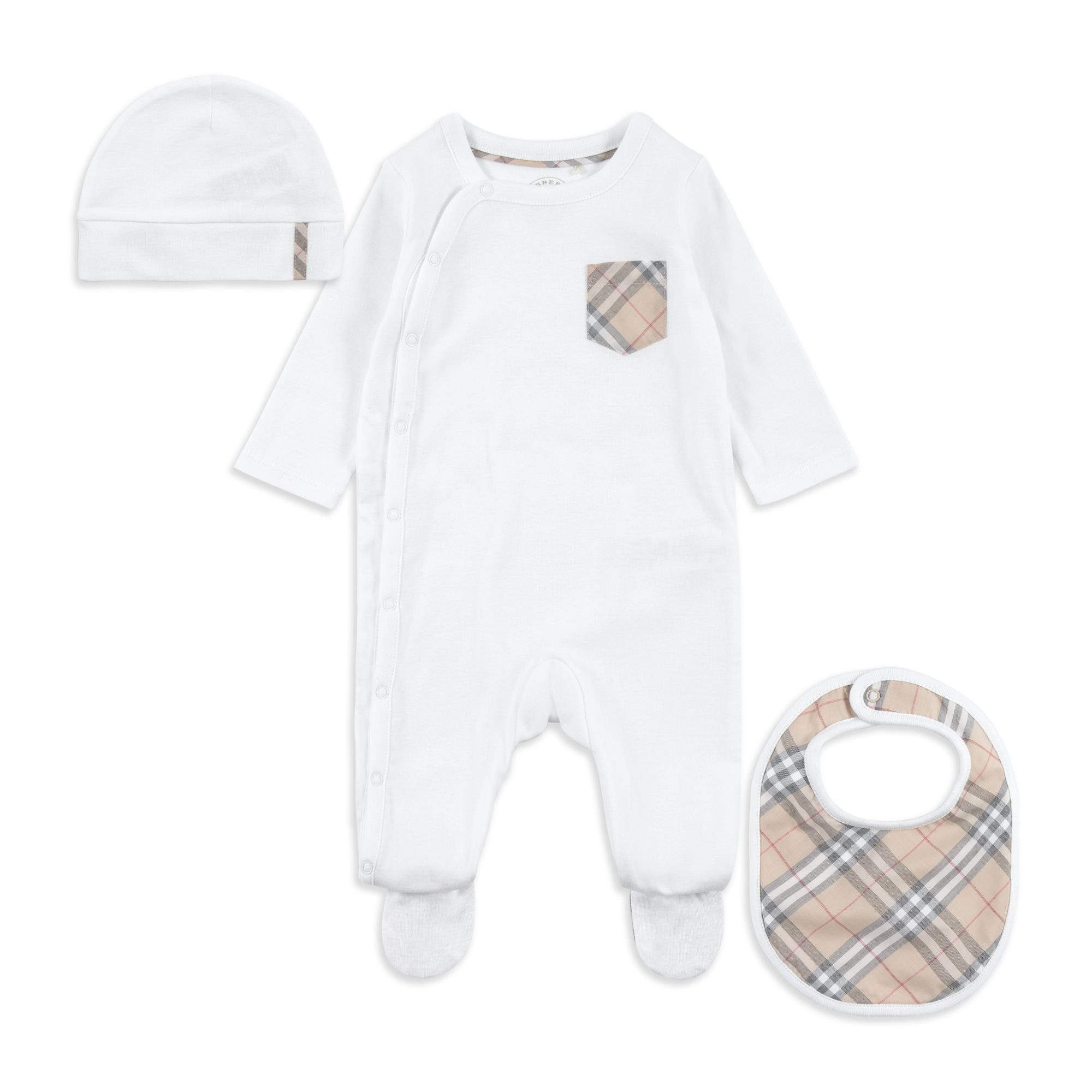 Burberry - Baby  Jaydin  Babygrow Set - White - Baby outfit gift set 46c066344675