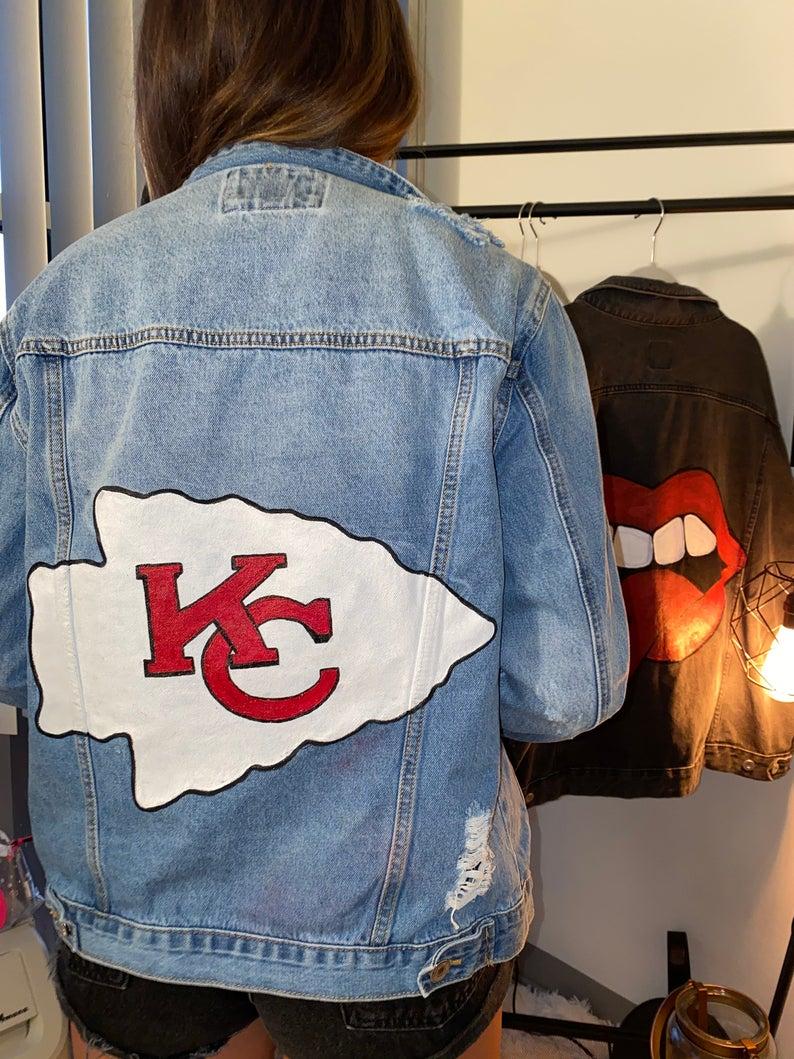 Custom Kansas City Chiefs Jacket Jackets Diy Clothes And Shoes Cute Jean Jackets [ 1059 x 794 Pixel ]