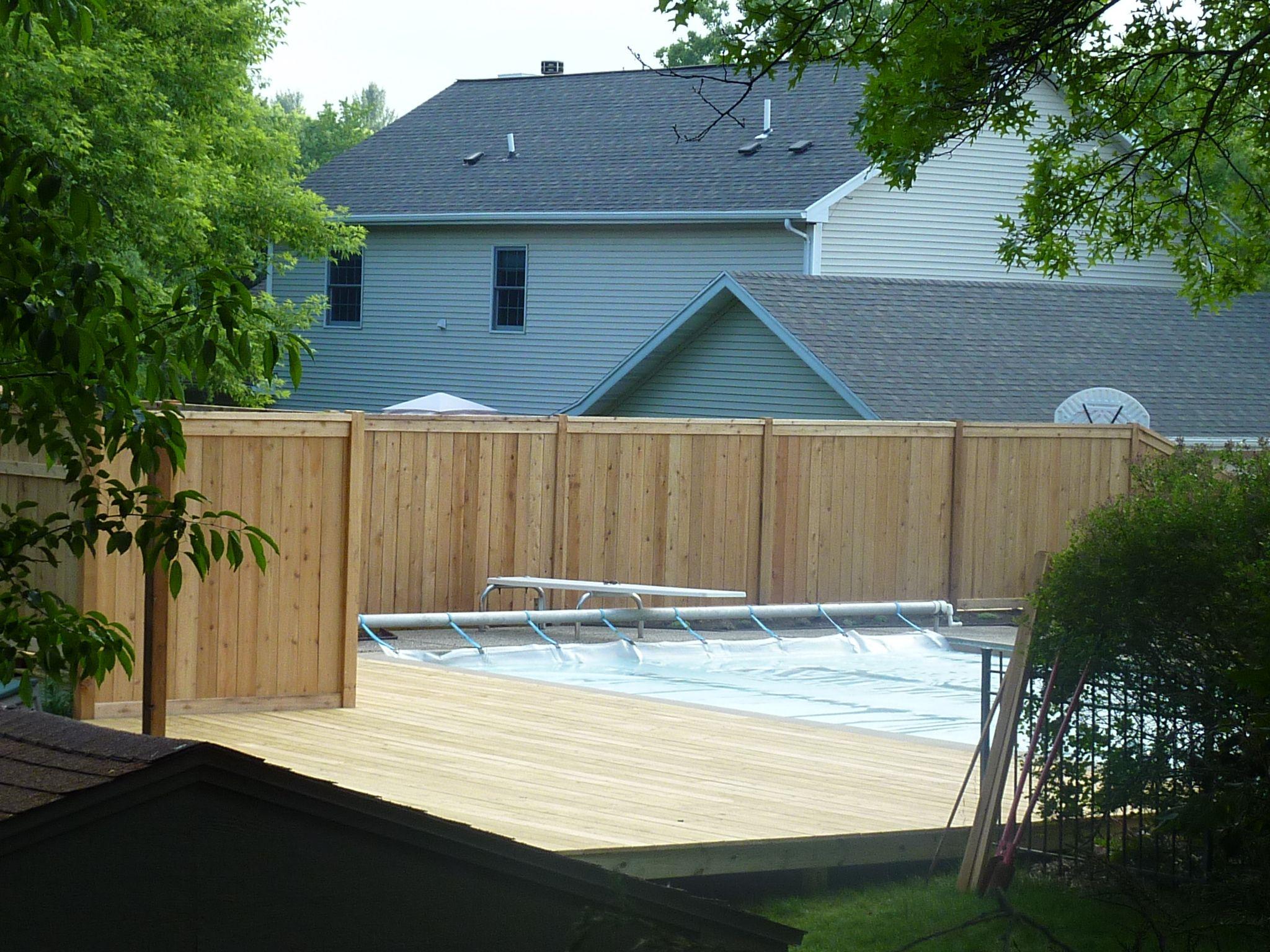 Custom Cedar Privacy Fence Around Pool Fence Built On Top Of